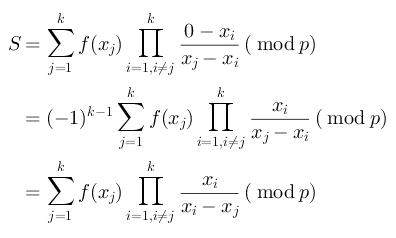 $$$\begin{aligned}S&=\sum_{j=1}^{k}f(x_{j})\prod_{i=1, i\neq{}j}^{k}\frac{0-x_{i}}{x_{j}-x_{i}} (\bmod p)\\&=(-1)^{k-1}\sum_{j=1}^{k}f(x_{j})\prod_{i=1, i\neq{}j}^{k}\frac{x_{i}}{x_{j}-x_{i}} (\bmod p)\\&=\sum_{j=1}^{k}f(x_{j})\prod_{i=1, i\neq{}j}^{k}\frac{x_{i}}{x_{i}-x_{j}} (\bmod p)\end{aligned}$$$